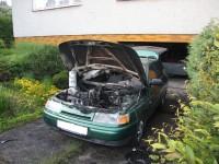 Požár osobního auta v obci Hutisko-Solanec