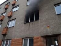 Požár v pokoji jednoho z bytů v centru Zlína