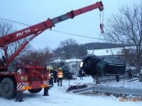 K vyproštění vozidla v obci Lukoveček povolali hasič jeřáb