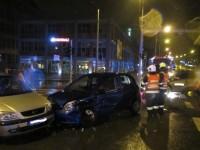 Večerní dopravní nehoda tří vozidel v centru Zlína