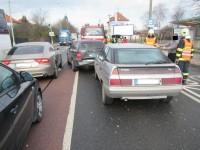 Dopravní nehoda tří osobních vozů komplikovala příjezd do Zlína