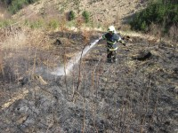 Hovězí - na místo lesního požáru byl povolán i vrtulník